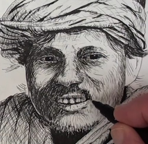 how-to-draw-a-snake-charmer-portrait-in-pen-and-ink-face-shading