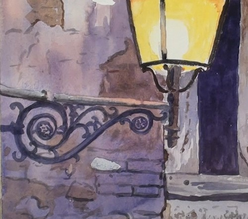 how-to-paint-a-still-life-fancy-lantern-in-watercolor-lantern-bracket-wall-markings