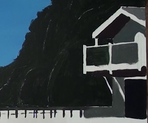 underpainting the stone wall - how to paint a boathouse