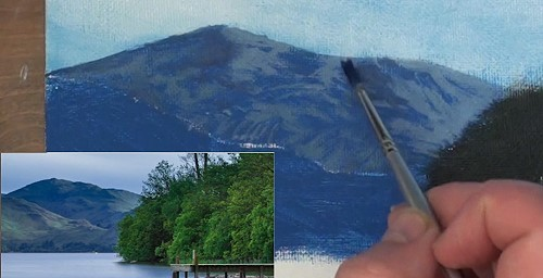 painting the first distant mountain - how to paint a boathouse