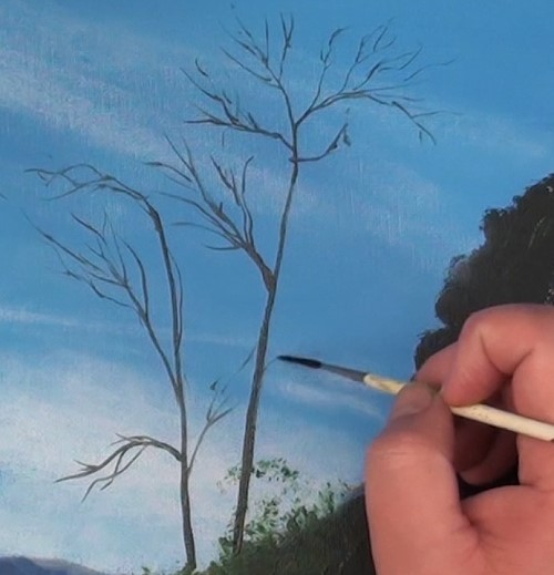 painting branches with a rigger brush - how to paint a boathouse