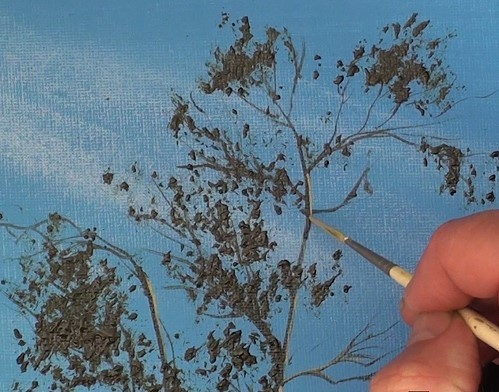 painting leaves and highlighting the branches - how to paint a boathouse