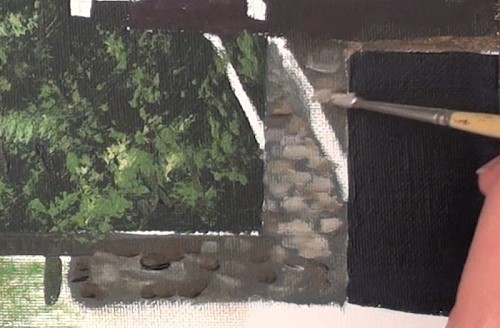 painting the stone wall - how to paint a boathouse