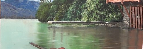 add ripples to the water horizontally - how to paint a boathouse