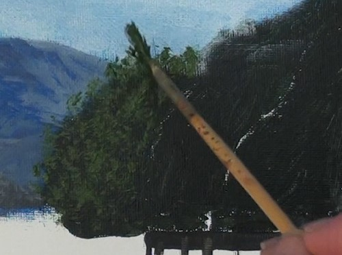 painting the trees with a fan brush - how to paint a boathouse