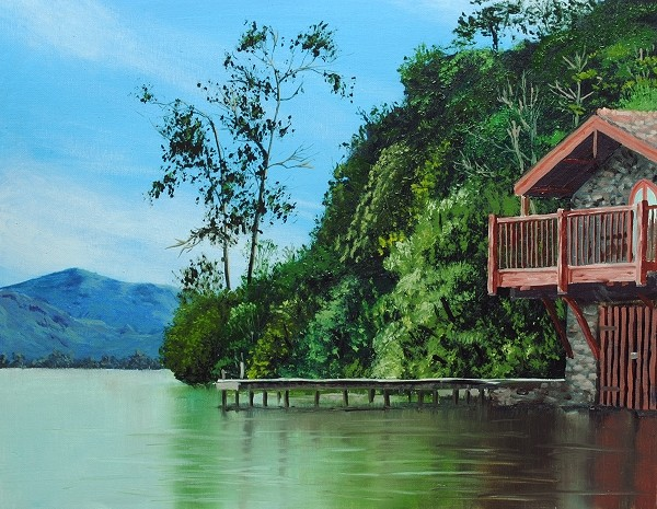 how to paint a boathouse - completed painting
