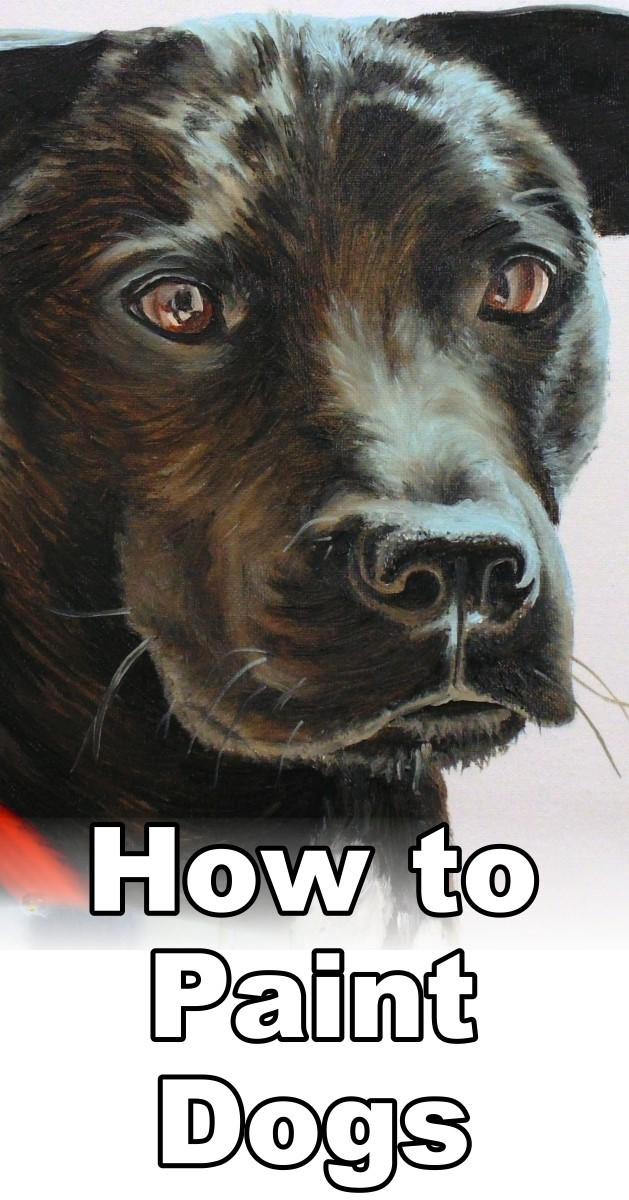 Learn how to paint a black hair dog in oil with this online art lesson. art classes, painting tutorial, how to paint animals, pet portrait painting, oil painting lessons