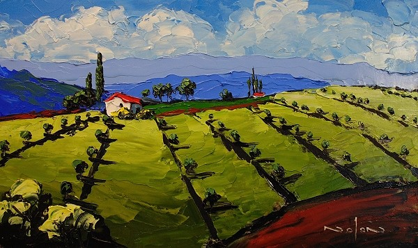 final impasto landscape of an olive grove painted with a painting knife