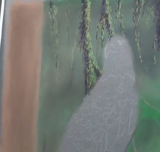 underpainting the tree trunk