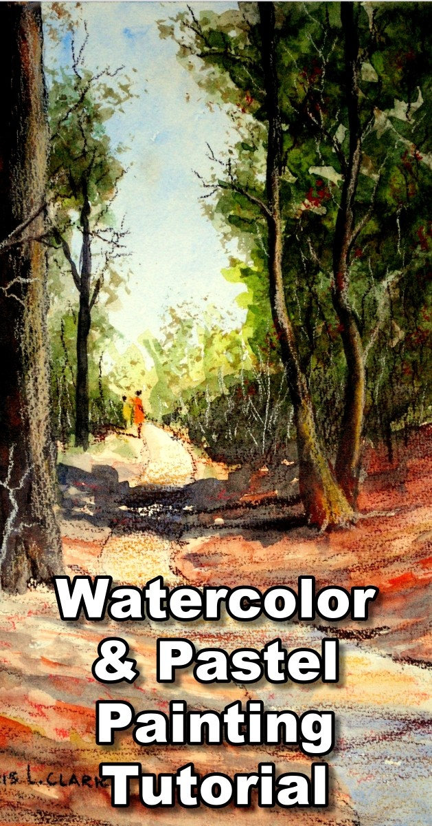 How to Paint a Forest with Watercolor and Pastel Pencils - Learn to draw pastel pencil over watercolor paintings - watercolor with pastel pencil, how to paint with watercolor and pastel, pastel pencil onto watercolor, watercolor landscape lessons, pastel pencil landscape tutorials, watercolor underpainting, pastel pencil drawing, pastel pencil tutorial, watercolor painting lessons, pastel drawing classes, online art classes, dennis clark, paint basket