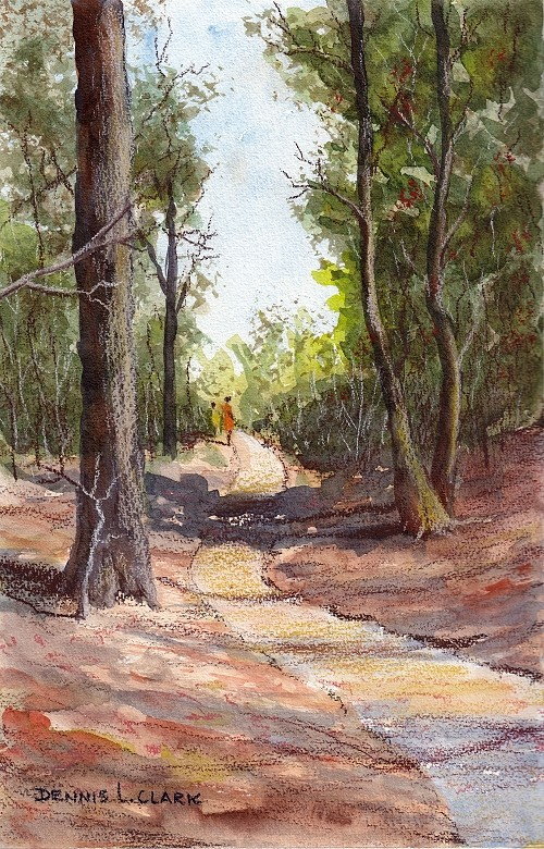 How to draw a path in a forest using watercolor and pastel pencils