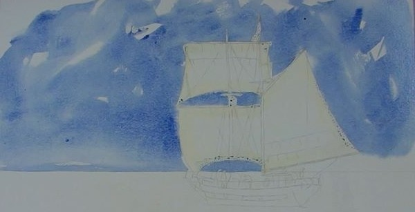 paint sailing ship - blocking in the sky