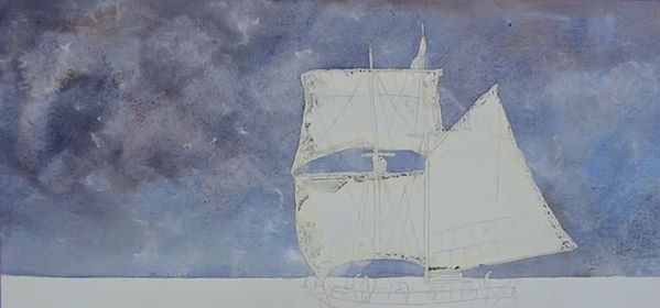 paint sailing ship - adding clouds to the sky