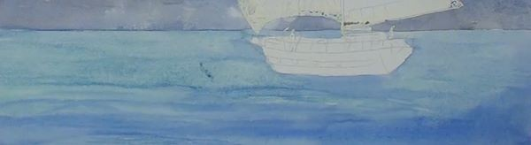 paint sailing ship - blocking in the sea