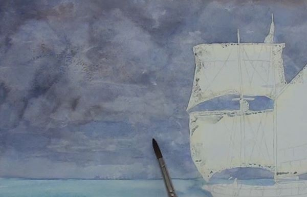 paint sailing ship - add sea colour to the sky