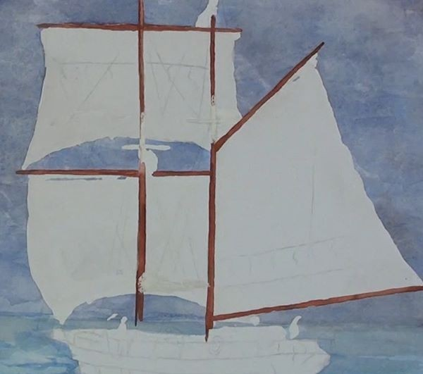 paint sailing ship - masts