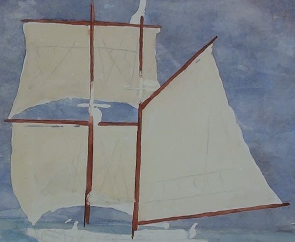 paint sailing ship - making the sails look aged