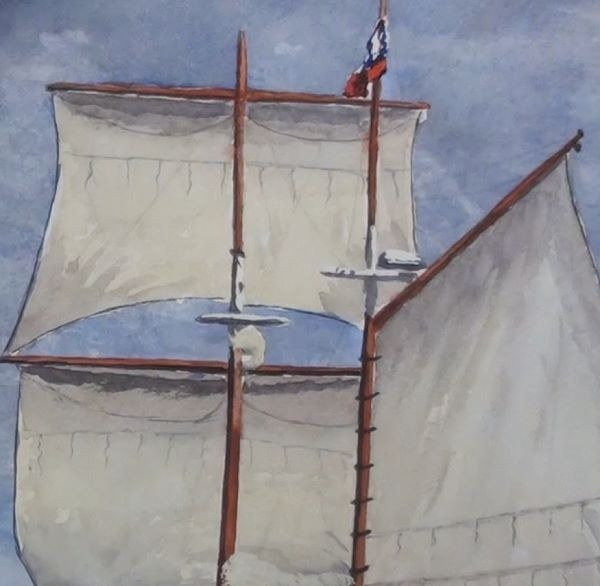 paint sailing ship - add detail to the sails