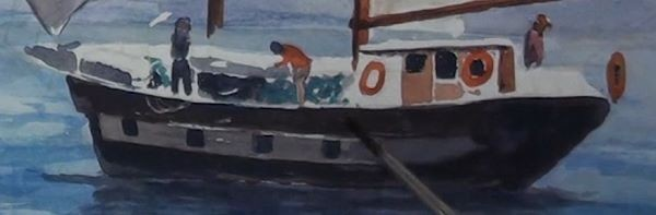paint sailing ship - painting the deck