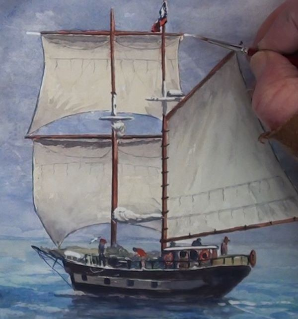 paint sailing ship - add highlights to the sail area