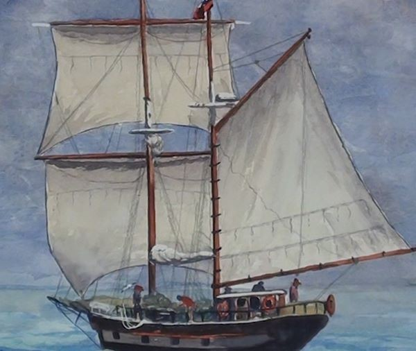 paint sailing ship - draw the rigging