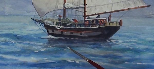 paint sailing ship - highlight the waves