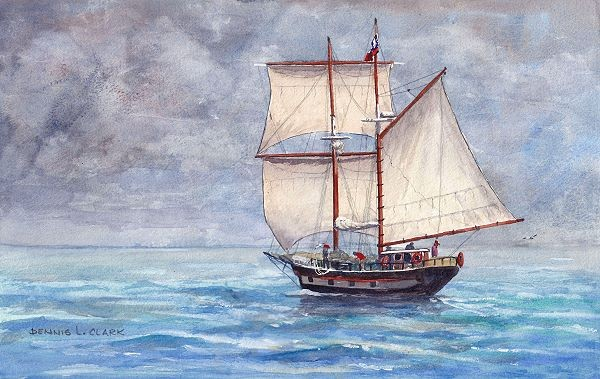Learn how to paint a tall ship in this watercolor painting tutorial by Dennis Clark of Paint Basket's Online Art Lessons