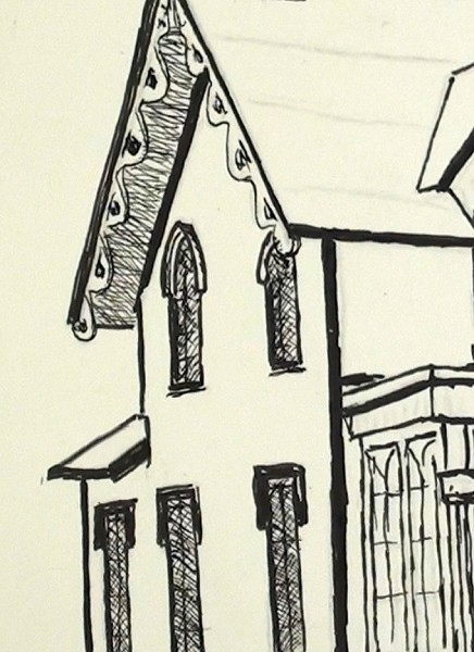 pen ink house - draw the detail