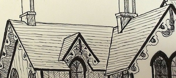 pen ink house - drawing the chimney