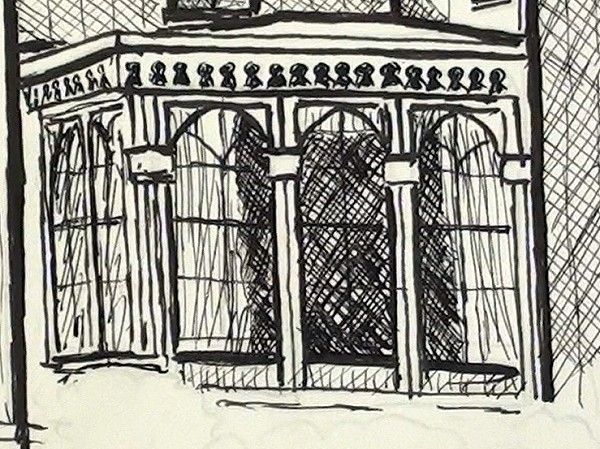 pen ink house - draw the conservatory curtains