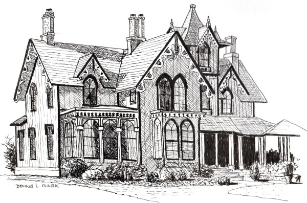 How to draw a beautiful house in pen and ink online art lesson by Dennis Clark of the Paint Basket