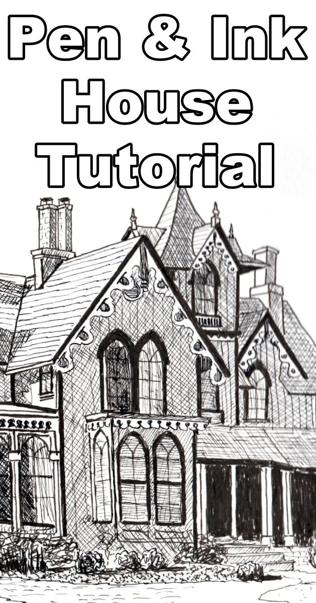 How to draw a beautiful house in pen and ink online art lesson. how to draw a house pen ink, pen ink house, pen and ink house drawing, pen and ink tutorials, how to draw with pen & ink, pen ink lessons, buildings in pen & ink, online art lessons, dennis clark, paint basket