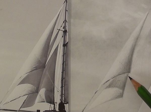 Sail with cast shadow - how to draw a sailboat