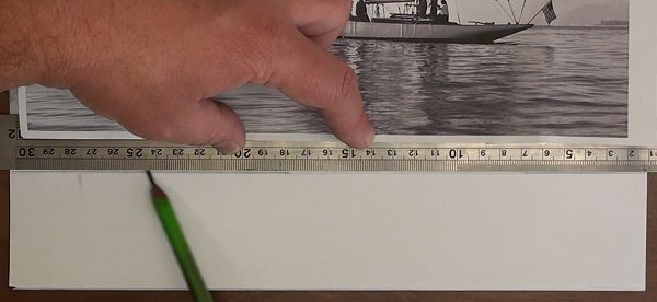 Using a ruler to keep horizon straight - how to draw a sailboat