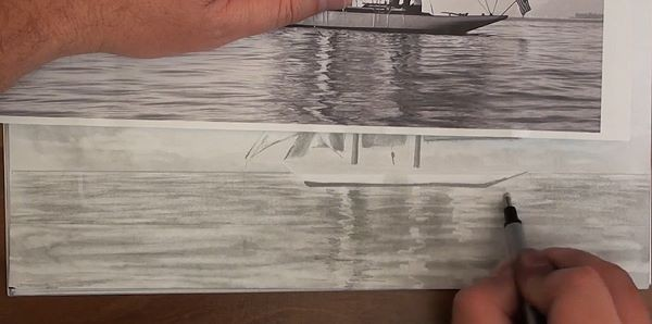 Draw the water reflections - how to draw a sailboat